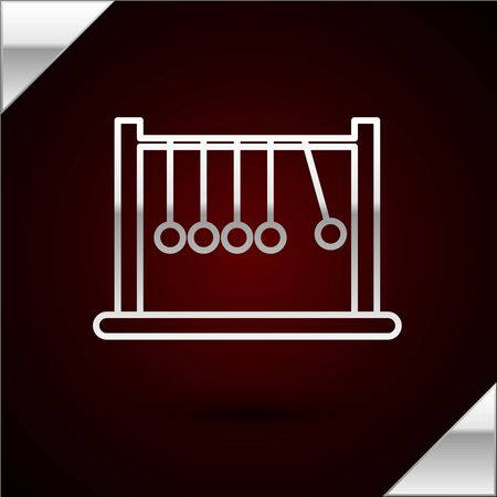 Silver line Pendulum icon isolated on dark red background. Newtons cradle. Vector Illustration Illustration