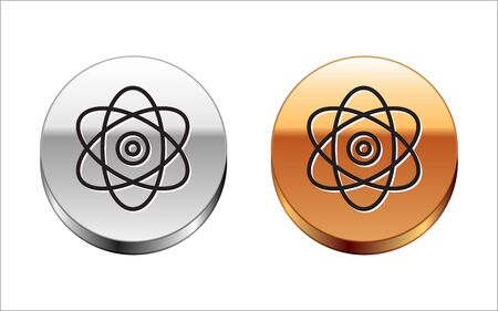 Black line Atom icon isolated on white background. Symbol of science, education, nuclear physics, scientific research. Electrons and protons sign. Silver-gold circle button. Vector Illustration Illustration