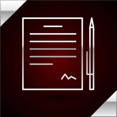Silver line Contract with pen icon isolated on dark red background. File icon. Checklist icon. Business concept. Vector Illustration Ilustrace