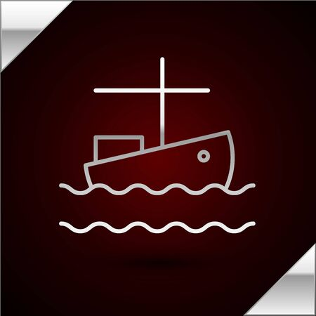 Silver line Fishing boat on water icon isolated on dark red background. Vector Illustration