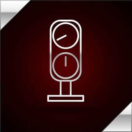 Silver line Gauge scale icon isolated on dark red background. Satisfaction, temperature, manometer, risk, rating, performance, speed tachometer. Vector Illustration Vectores