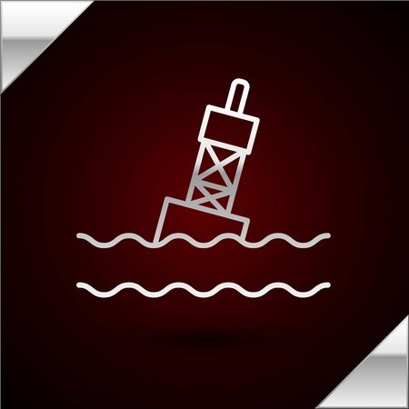 Silver line Floating buoy on the sea icon isolated on dark red background. Vector Illustration