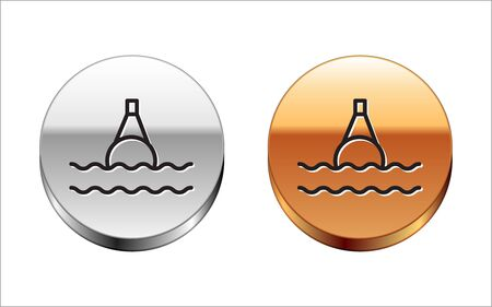 Black line Floating buoy on the sea icon isolated on white background. Silver-gold circle button. Vector Illustration