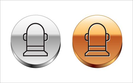 Black line Buoy icon isolated on white background. Silver-gold circle button. Vector Illustration