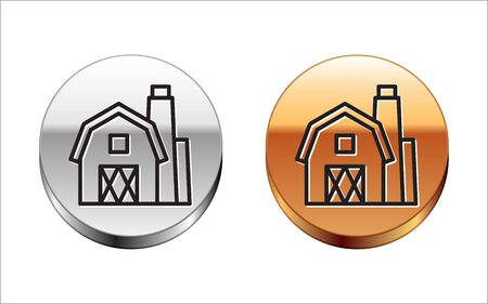 Black line Farm House concept icon isolated on white background. Rustic farm landscape. Silver-gold circle button. Vector Illustration