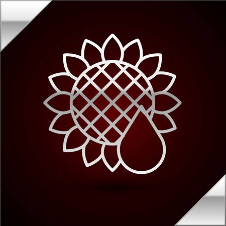 Silver line Sunflower icon isolated on dark red background. Vector Illustration