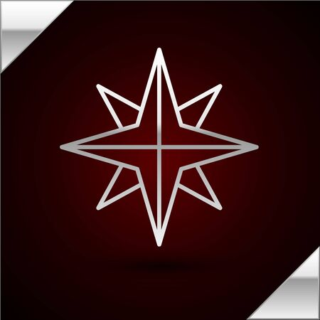 Silver line Wind rose icon isolated on dark red background. Compass icon for travel. Navigation design. Vector Illustration
