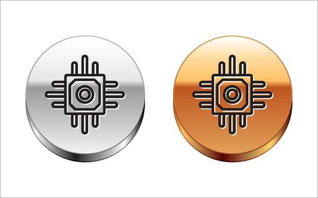 Black line Processor icon isolated on white background. CPU, central processing unit, microchip, microcircuit, computer processor, chip. Silver-gold circle button. Vector Illustration Ilustração