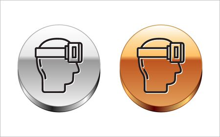 Black line Virtual reality glasses icon isolated on white background. Stereoscopic 3d vr mask. Silver-gold circle button. Vector Illustration