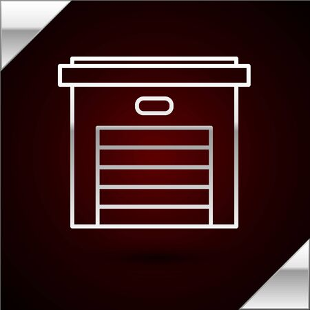 Silver line Garage icon isolated on dark red background. Vector Illustration