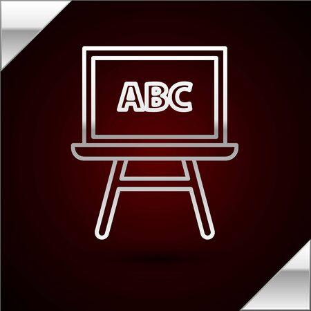 Silver line Chalkboard icon isolated on dark red background. School Blackboard sign. Vector Illustration