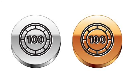Black line Casino chips icon isolated on white background. Casino gambling. Silver-gold circle button. Vector Illustration