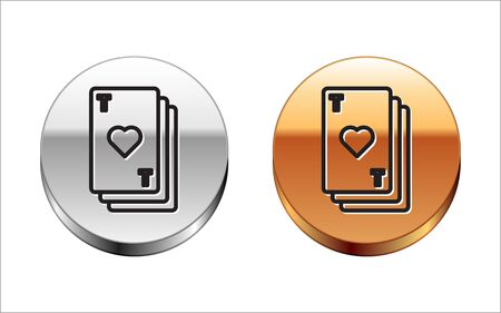 Black line Playing card with heart symbol icon isolated on white background. Casino gambling. Silver-gold circle button. Vector Illustration 向量圖像