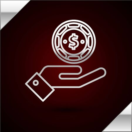 Silver line Hand holding casino chips icon isolated on dark red background. Casino gambling. Vector Illustration