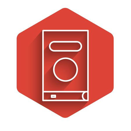 White line Book icon isolated with long shadow. Red hexagon button. Vector Illustration