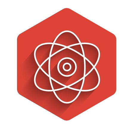 White line Atom icon isolated with long shadow. Symbol of science, education, nuclear physics, scientific research. Electrons and protons sign. Red hexagon button. Vector Illustration