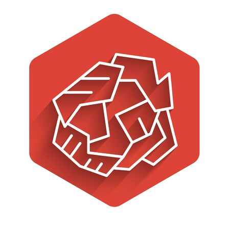 White line Crumpled paper ball icon isolated with long shadow. Red hexagon button. Vector Illustration