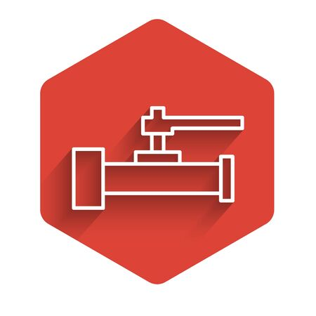 White line Industry metallic pipes and valve icon isolated with long shadow background. Red hexagon button. Vector Illustration