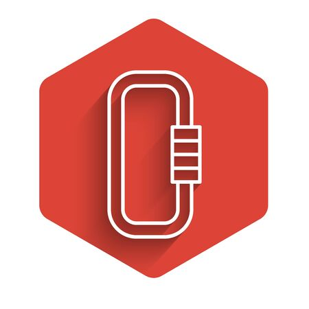 White line Carabiner icon isolated with long shadow background. Extreme sport. Sport equipment. Red hexagon button. Vector Illustration