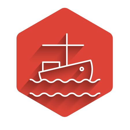 White line Fishing boat on water icon isolated with long shadow background. Red hexagon button. Vector Illustration