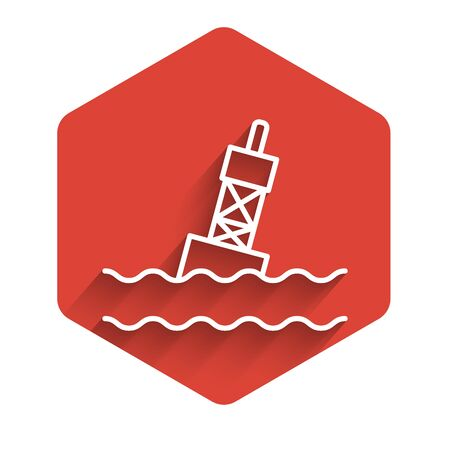 White line Floating buoy on the sea icon isolated with long shadow background. Red hexagon button. Vector Illustration