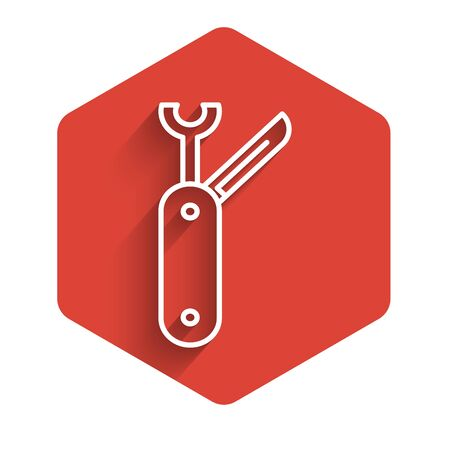 White line Swiss army knife icon isolated with long shadow background. Multi-tool, multipurpose penknife. Multifunctional tool. Red hexagon button. Vector Illustration