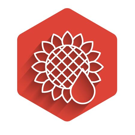 White line Sunflower icon isolated with long shadow. Red hexagon button. Vector Illustration