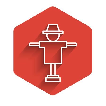 White line Scarecrow icon isolated with long shadow. Red hexagon button. Vector Illustration