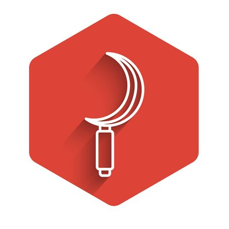 White line Sickle icon isolated with long shadow. Reaping hook sign. Red hexagon button. Vector Illustration