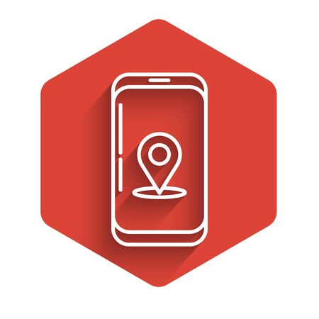 White line Infographic of city map navigation icon isolated with long shadow. Mobile App Interface concept design. Geolacation concept. Red hexagon button. Vector Illustration