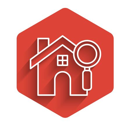 White line Search house icon isolated with long shadow. Real estate symbol of a house under magnifying glass. Red hexagon button. Vector Illustration