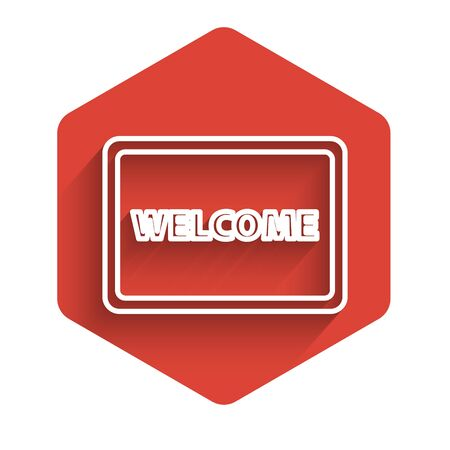 White line Doormat with the text Welcome icon isolated with long shadow. Welcome mat sign. Red hexagon button. Vector Illustration Ilustração