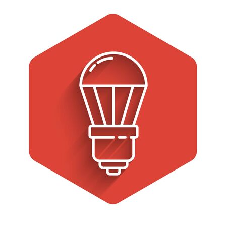 White line LED light bulb icon isolated with long shadow. Economical LED illuminated lightbulb. Save energy lamp. Red hexagon button. Vector Illustration