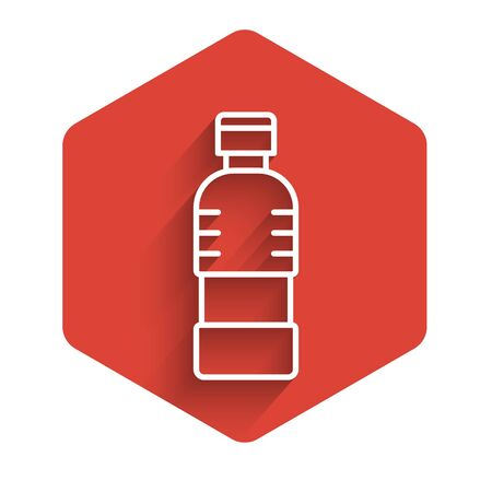 White line Bottle of water icon isolated with long shadow. Soda aqua drink sign. Red hexagon button. Vector Illustration