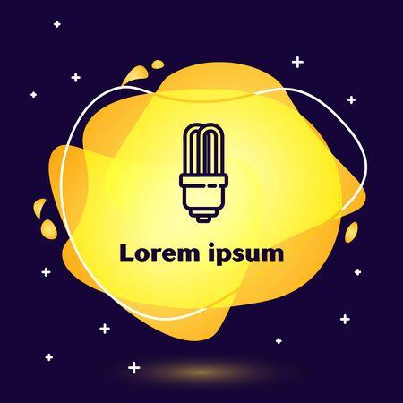Black line LED light bulb icon isolated on blue background. Economical LED illuminated lightbulb. Save energy lamp. Abstract banner with liquid shapes. Vector Illustration