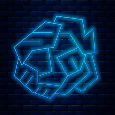 Glowing neon line Crumpled paper ball icon isolated on brick wall background. Vector Illustration