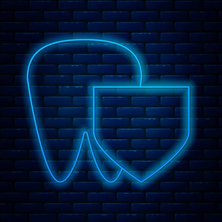 Glowing neon line Tooth with shield icon isolated on brick wall background. Dental insurance. Security, safety, protection, protect concept. Vector Illustration