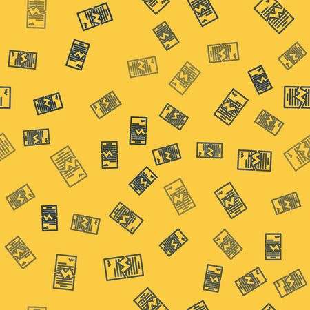 Blue line Torn contract icon isolated seamless pattern on yellow background. File icon. Checklist icon. Business concept. Vector Illustration