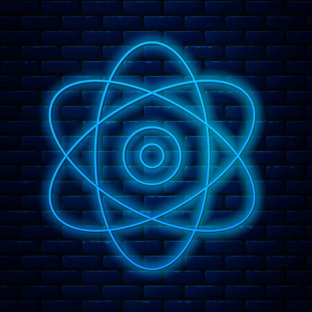 Glowing neon line Atom icon isolated on brick wall background. Symbol of science, education, nuclear physics, scientific research. Electrons and protons sign. Vector Illustration
