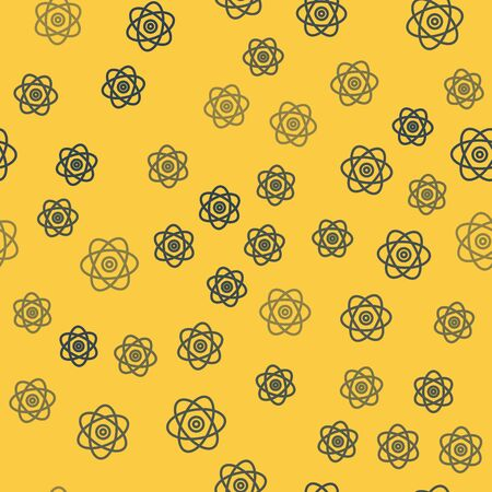 Blue line Atom icon isolated seamless pattern on yellow background. Symbol of science, education, nuclear physics, scientific research. Electrons and protons sign. Vector Illustration
