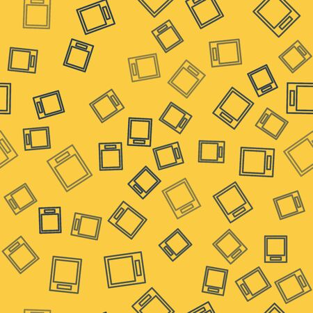 Blue line Empty form icon isolated seamless pattern on yellow background. File icon. Checklist icon. Business concept. Vector Illustration Ilustração