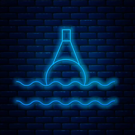 Glowing neon line Floating buoy on the sea icon isolated on brick wall background. Vector Illustration