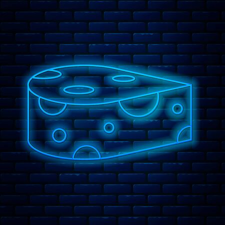 Glowing neon line Cheese icon isolated on brick wall background. Vector Illustration 矢量图像