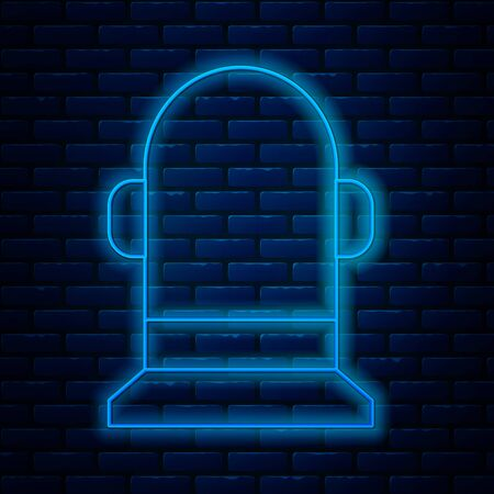 Glowing neon line Buoy icon isolated on brick wall background. Vector Illustration