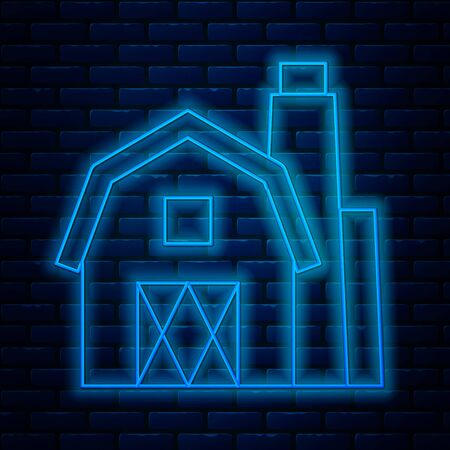 Glowing neon line Farm House concept icon isolated on brick wall background. Rustic farm landscape. Vector Illustration Stock Illustratie