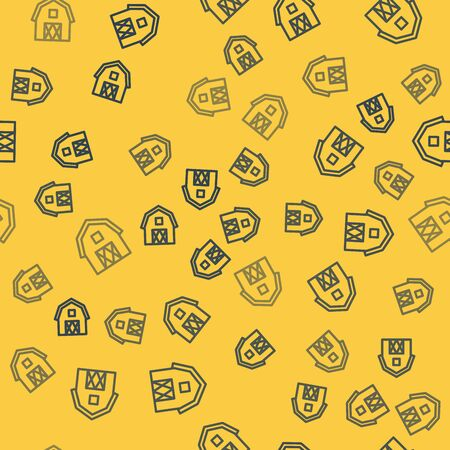 Blue line Farm House concept icon isolated seamless pattern on yellow background. Rustic farm landscape. Vector Illustration Stock Illustratie