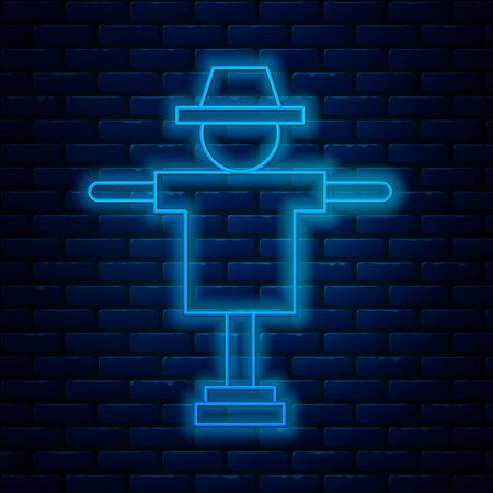 Glowing neon line Scarecrow icon isolated on brick wall background. Vector Illustration
