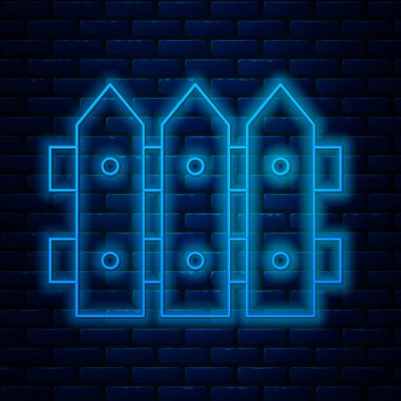 Glowing neon line Garden fence wooden icon isolated on brick wall background. Vector Illustration