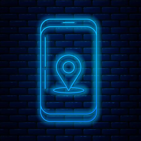 Glowing neon line Infographic of city map navigation icon isolated on brick wall background. Mobile App Interface concept design. Geolacation concept. Vector Illustration
