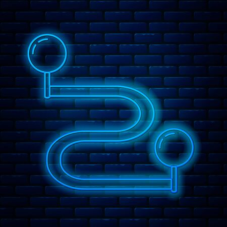 Glowing neon line Route location icon isolated on brick wall background. Map pointer sign. Concept of path or road. GPS navigator. Vector Illustration